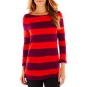 Liz Claiborne 3/4-Sleeve Striped Tee