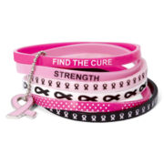 Breast Cancer Awareness Multicolor Silicone 6-pc. Bracelet Set