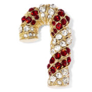 Monet® Clear and Red Stone Gold-Tone Candy Cane Pin