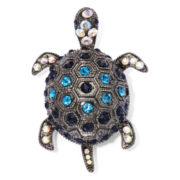 Monet® Blue and Black Stone Hematite Turtle Pin