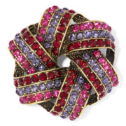 Monet® Red, Pink and Black Stone Gold-Tone Knot Pin