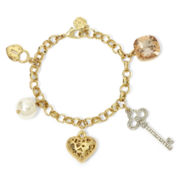Monet® Gold-Tone Heart and Key Charm Bracelet