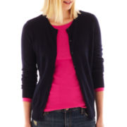 jcp™ Long-Sleeve Crewneck Cardigan Sweater - Tall