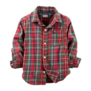 Carter's® Long-Sleeve Button-Front Flannel Shirt – Boys 2t-4t