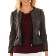 Liz Claiborne 3/4-Sleeve Zip-Front Piped Knit Jacket - Petite