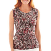 Liz Claiborne Short-Sleeve Mini-Pleat Top