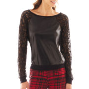 Bisou Bisou® Lace-Sleeve Faux Leather-Trim Top