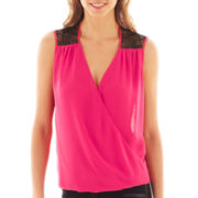 Bisou Bisou® Sleeveless Lace-Trim Crossover Blouse
