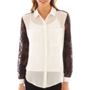 Bisou Bisou® Lace-Sleeve Tunic Blouse