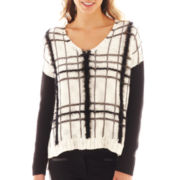 Bisou Bisou® Long-Sleeve Plaid Fuzzy Sweater