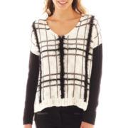 Bisou Bisou® Long-Sleeve Plaid Fuzzy Sweater