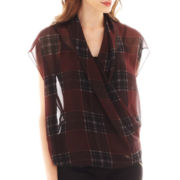 i jeans by Buffalo Short-Sleeve Plaid Crossover Blouse