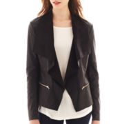 i jeans by Buffalo Faux Leather-Trim Flyaway Jacket