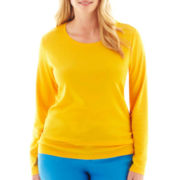 jcp™ Long-Sleeve Crewneck Tee - Plus