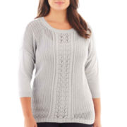 a.n.a® 3/4-Sleeve Openwork Cable Sweater - Plus