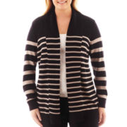 a.n.a® Long-Sleeve Striped Open Cardigan - Plus