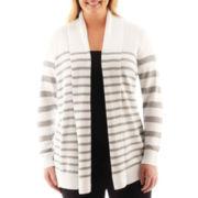 a.n.a® Long-Sleeve Striped Open Cardigan - Plus