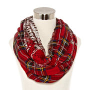 Plaid Cable Knit Infinity Scarf