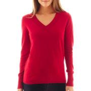 jcp™ Long-Sleeve Fine-Gauge V-Neck Sweater - Tall