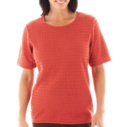 Alfred Dunner® San Antonio Solid Textured Sweater Shell