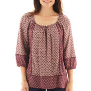 St. John's Bay® 3/4-Sleeve Twin Print Peasant Top