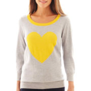 jcp™ 3/4-Sleeve Fine-Gauge Heart Sweater