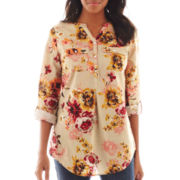 St. John's Bay® Long-Sleeve Floral Tunic