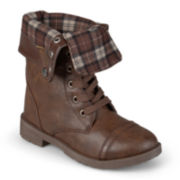 Journee Duke Girls Lace-Up Boots - Little Kids