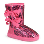 Journee K-Bow Girls Sequined Boots - Little Kids