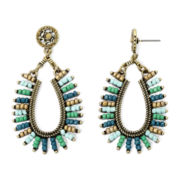 Bold Elements™ Multicolor Stone and Seed Bead Drop Hoop Earrings