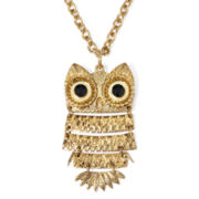 Arizona Layered Owl Gold-Tone Pendant Necklace