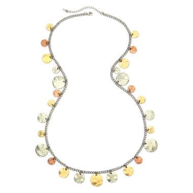 jcpenney.com | Bold Elements™ Tri-Tone Hammered Disc Shaky Necklace