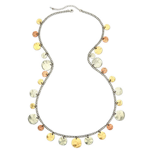 Bold Elements™ Tri-Tone Hammered Disc Shaky Necklace