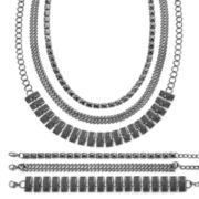 Mixit™ Hematite 6-pc. Textured Bracelet and Necklace Set