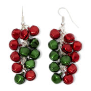 Mixit™ Red, Silver-Tone and Green Jingle Bell Cluster Christmas Earrings