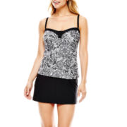 Aqua Couture Lace Print Bandeaukini Swim Top or Solid Skirtini