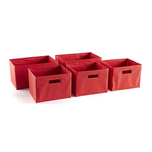 Guidecraft 5 Storage Bins - Red