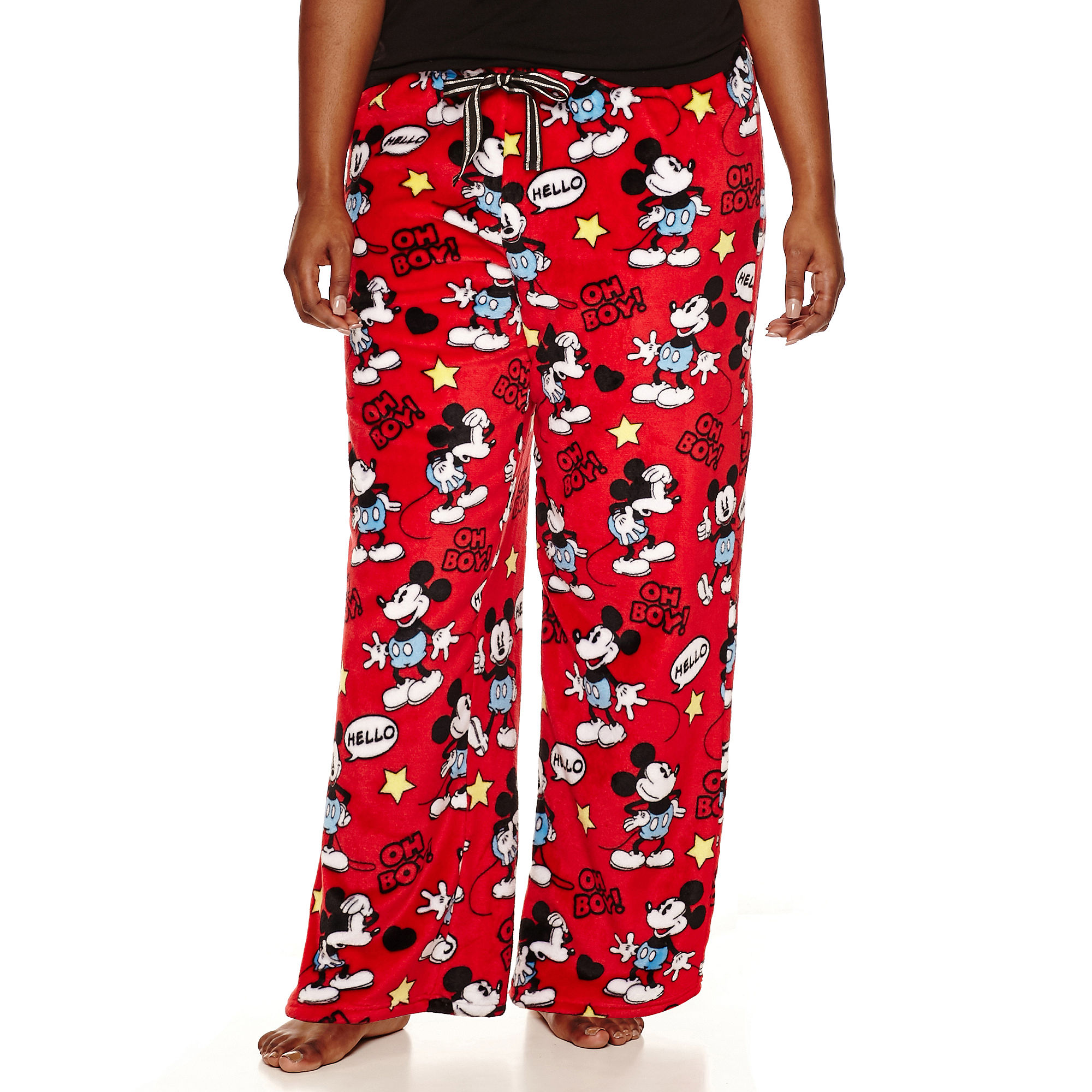 Disney Mickey Mouse Fleece Pajama Pants-Juniors Plus plus size,  plus size fashion plus size appare
