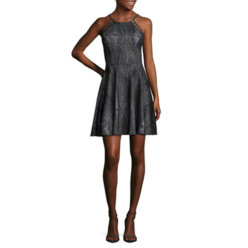 City Triangle Sleeveless Skater Dress-Juniors