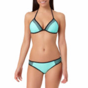 Arizona Mesh Pushup Triangle Swim Top or Mesh Mint Hipster Bottoms