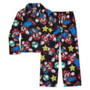 Nintendo Mario Coat Front Pajama Set- Boys 4-10