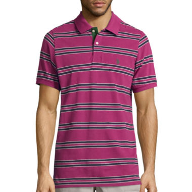 jcpenney.com | U.S. Polo Assn. Embroidered Short Sleeve Stripe Pique Polo Shirt