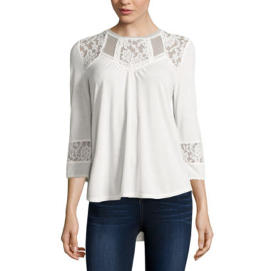jcpenney.com | Almost Famous Long Sleeve Solid Peasant Top Juniors