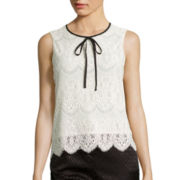 Worthington® Sleeveless Scallop Lace Tie-Neck Top