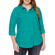 Liz Claiborne® Long-Sleeve Roll-Tab Popover Blouse - Plus