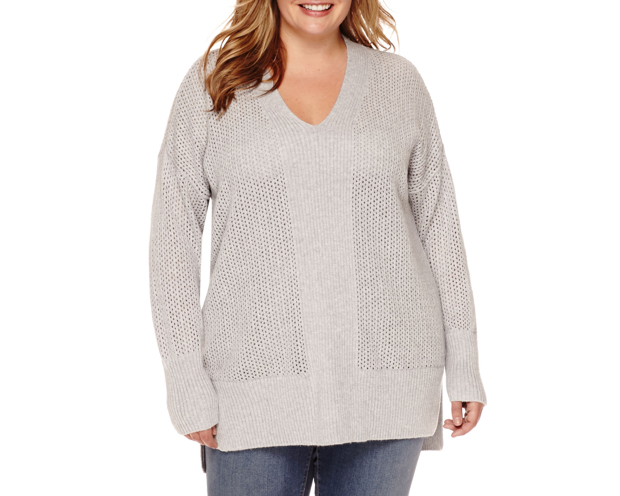Stylus™ Long-Sleeve Pointelle Tunic Sweater - Plus