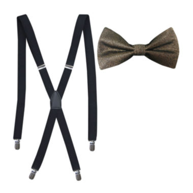 jcpenney.com | JF J. Ferrar® Solid Lurex Bow Tie and Suspender Set