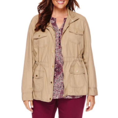 jcpenney.com | St. John's Bay® Long-Sleeve Twill Anorak Jacket - Plus