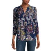 Liz Claiborne® Long-Sleeve Printed V-Neck Peasant Top