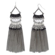 Hematite Jet & Crystal Art Deco Fringe Earrings